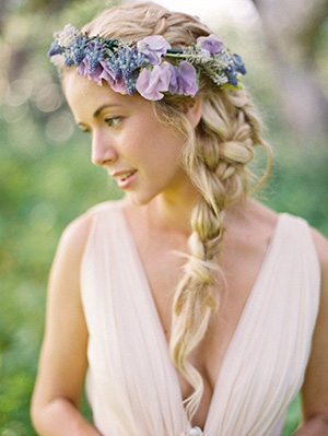 Purple Floral Crown for a Romantic Bohemian Bridal Look | Jose Villa Photography | Brighton Periwinkle Inspiration from Napa Valley Linens