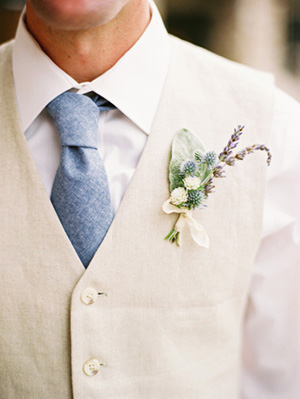 Crisp Linen Suit with a Lavender Boutonniere | Leo Patrone Photography | Brighton Periwinkle Inspiration from Napa Valley Linens