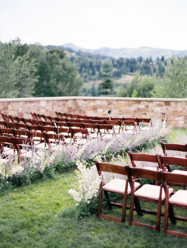 Purple Wildflower Ceremony Aisle | Leo Patrone Photography | Brighton Periwinkle Inspiration from Napa Valley Linens