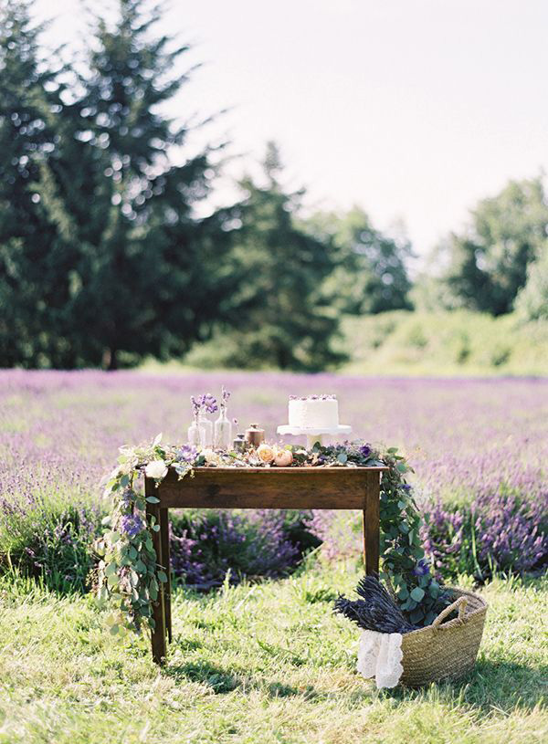 Lavender Fields Wedding Cake Display | Bryce Covey Photography | Brighton Periwinkle Inspiration from Napa Valley Linens