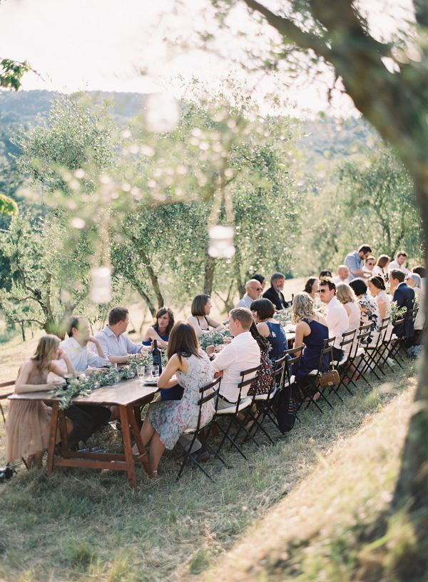 Al Fresco Olive Grove Wedding Reception | Rylee Hitchner Photography | Brighton Periwinkle Inspiration from Napa Valley Linens