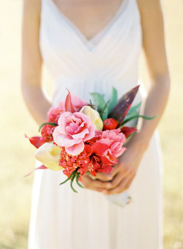 Colorful Cayenne Bridal Bouquet | Jose Villa Photography | Brighton Cayenne Inspiration from Napa Valley Linens