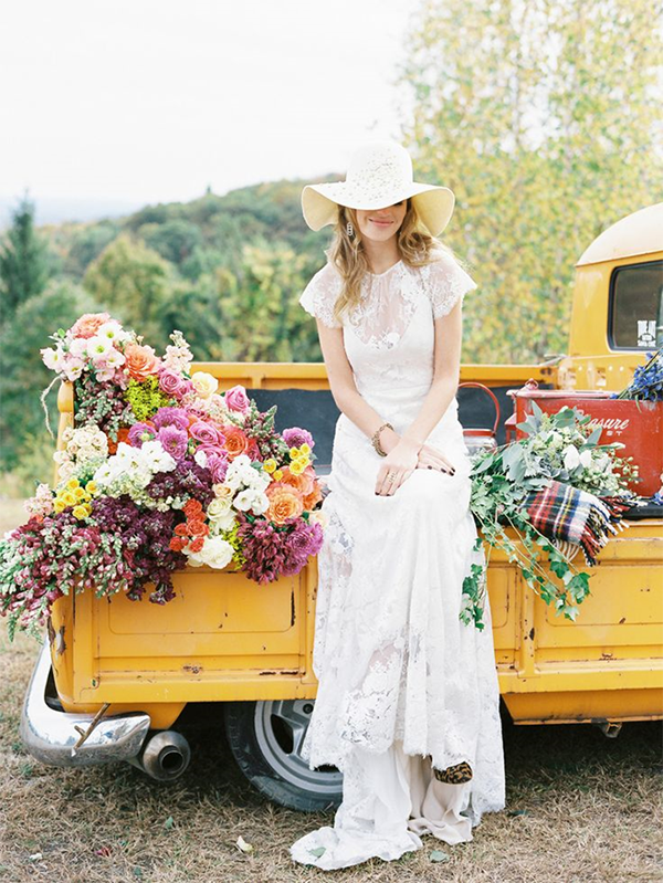 Colorful Bohemian Flower Truck | Trent Bailey Photography | Brighton Cayenne Inspiration from Napa Valley Linens