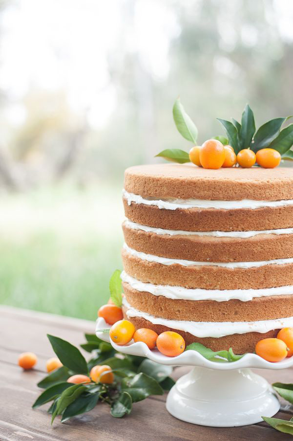 Kumquat Adorned Naked Wedding Cake | Kate and Michael Photography | Brighton Cayenne Inspiration from Napa Valley Linens