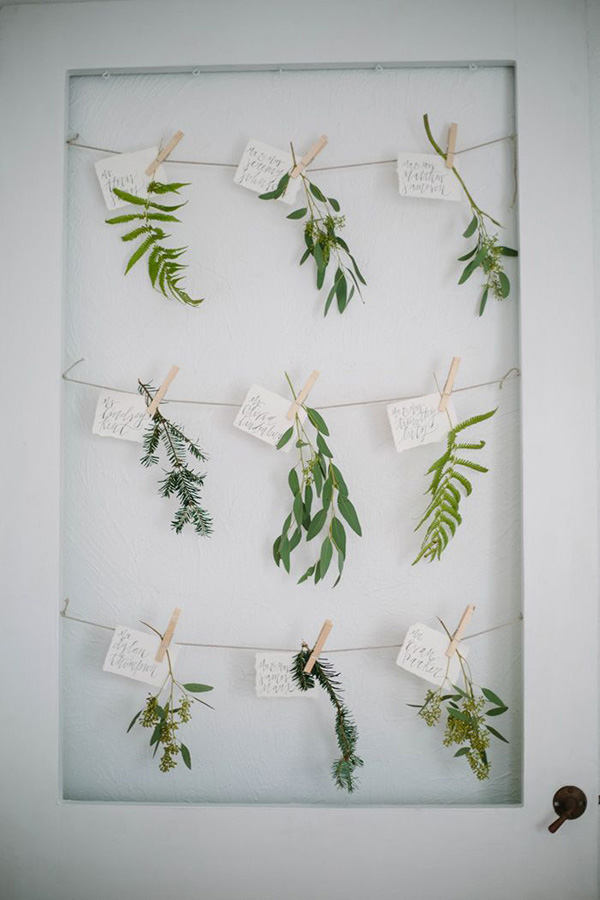 Botanical Seating Chart | Elegant Silver and White Hamptons Wedding Inspiration