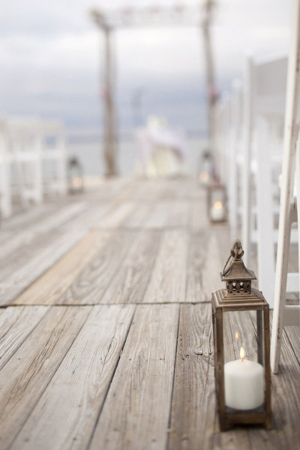 Dock Wedding Ceremony | Elegant Silver and White Hamptons Wedding Inspiration