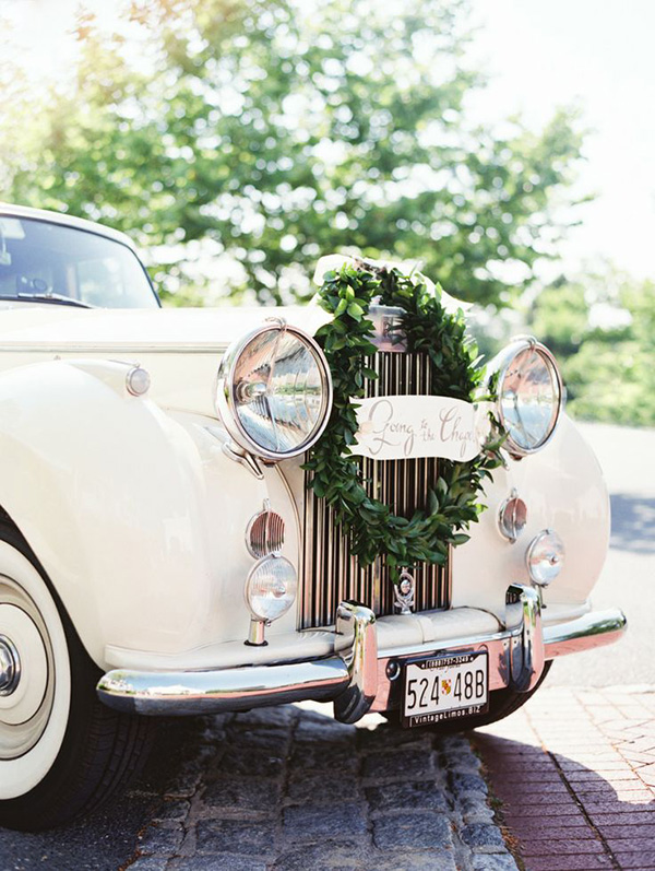 Vintage Getaway Car Erich McVey Photography | Elegant Silver and White Hamptons Wedding Inspiration