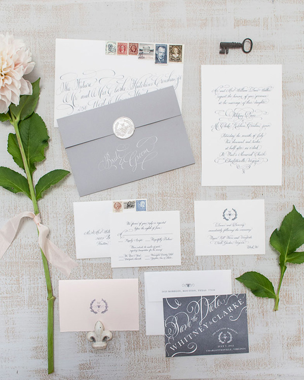 Seaside Wedding Invitation | Patricia Lyons Photography | Elegant Silver and White Hamptons Wedding Inspiration