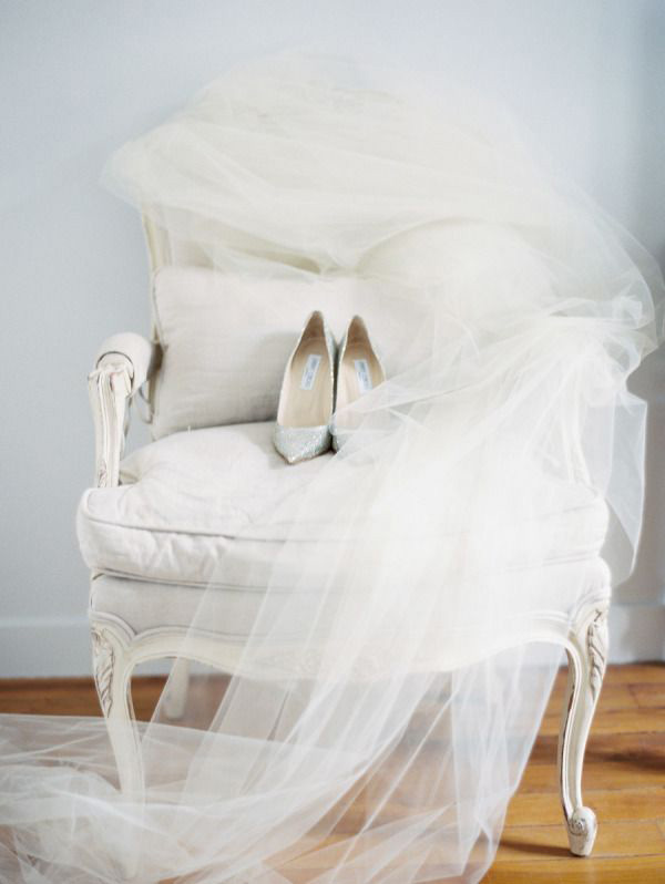 Silver Jimmy Choo Wedding Shoes | Clary Pfeiffer Photography | Elegant Silver and White Hamptons Wedding Inspiration