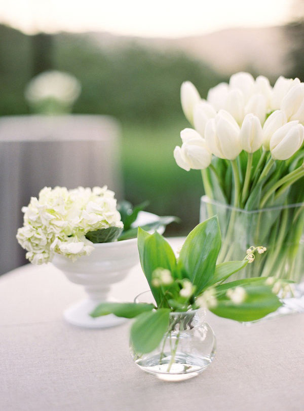 White Monofloral Centerpieces | Jose Villa Photography | Elegant Silver and White Hamptons Wedding Inspiration