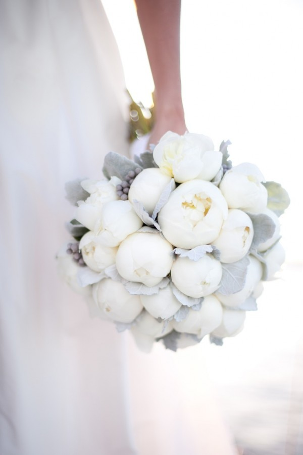 White Peony and Dusty Miller Bouquet | Robyn Thompson Photography | Elegant Silver and White Hamptons Wedding Inspiration