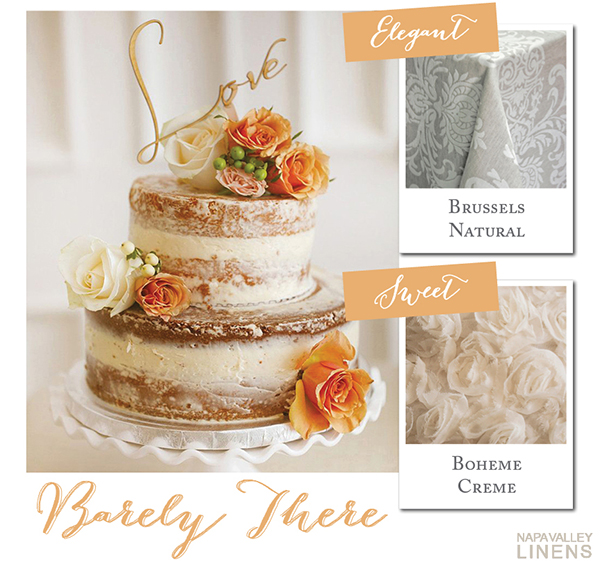 Barely There Naked Wedding Cake | Styling a Wedding Cake Table from Napa Valley Linens