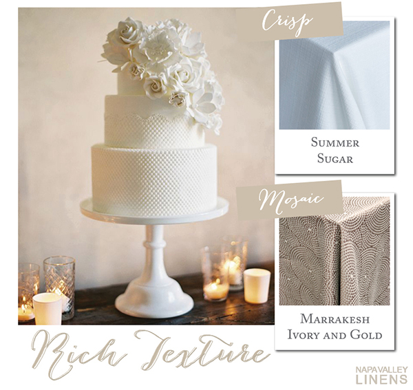 Textured White Wedding Cake | Styling a Wedding Cake Table from Napa Valley Linens