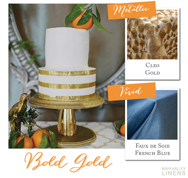 Metallic Gold Wedding Cake | Styling a Wedding Cake Table from Napa Valley Linens