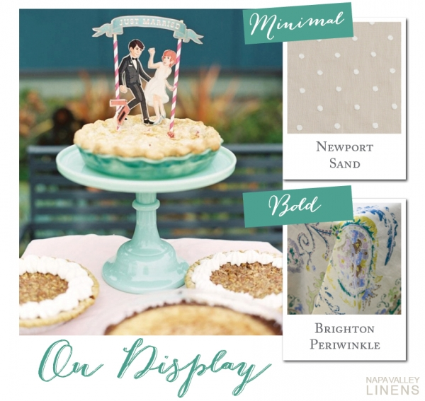 Eclectic Pie Dessert Display | Styling a Wedding Cake Table from Napa Valley Linens