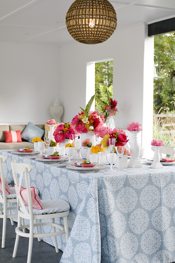 Modern Printed Table Linens with Bright Coral and Yellow Flowers | Angie Silvy Photography | Suite Retreat - Modern Wine Country Wedding Inspiration from Napa Valley Linens