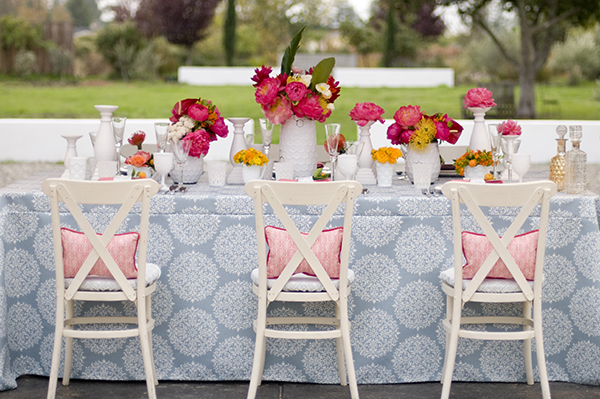 Modern, Colorful Wedding Table in Wedgwood Blue, Coral, and Yellow | Angie Silvy Photography | Suite Retreat - Modern Wine Country Wedding Inspiration from Napa Valley Linens