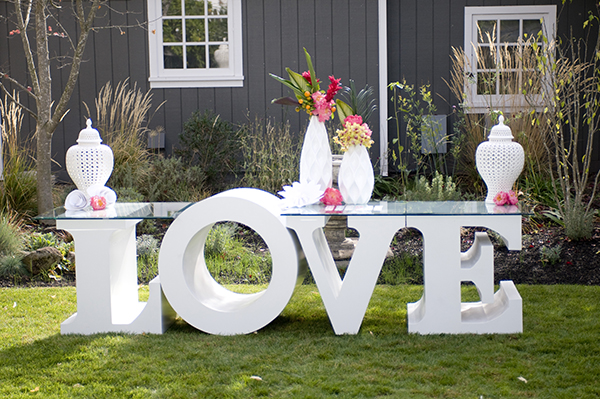 Giant LOVE Letter Installation | Angie Silvy Photography | Suite Retreat - Modern Wine Country Wedding Inspiration from Napa Valley Linens