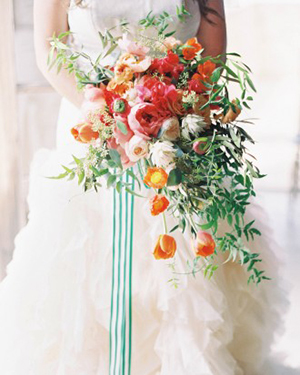 Emerald Green and Coral Cascade Bouquet with Striped Ribbon | Jen Huang Photography | Grey Likes Weddings Gets Married! Inside Summer Watkins