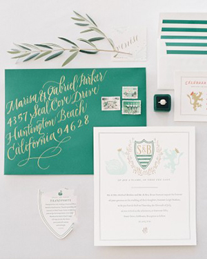 Preppy Emerald Green and White Wedding  Invitations with a Swan Motif | Jen Huang Photography | Grey Likes Weddings Gets Married! Inside Summer Watkins