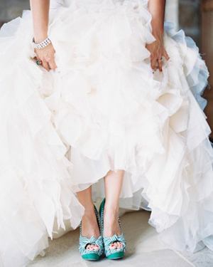 Green and White Striped Wedding Shoes | Jen Huang Photography | Grey Likes Weddings Gets Married! Inside Summer Watkins