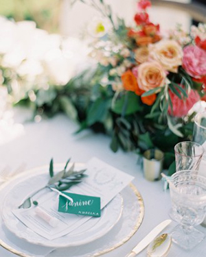 Coral and Green Floral Table Runner | Jen Huang Photography | Grey Likes Weddings Gets Married! Inside Summer Watkins