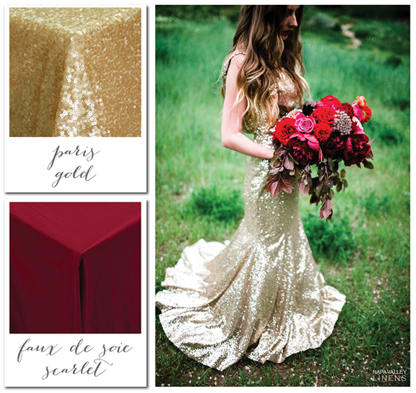 Scarlet and Sparkling Gold Bridal Styling | Gorgeous Winter Color Palettes to Celebrate the Holidays!