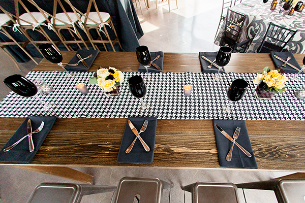Black and White Table Decor with a Houndstooth Table Runner | Gina Peterson Photography | Modern Industrial Event Inspiration from ISES Napa-Sonoma