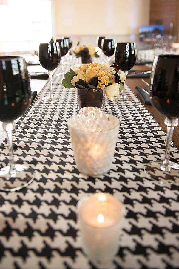 Dramatic Black and White Table Decor with a Houndstooth Runner | Gina Peterson Photography | Modern Industrial Event Inspiration from ISES Napa-Sonoma