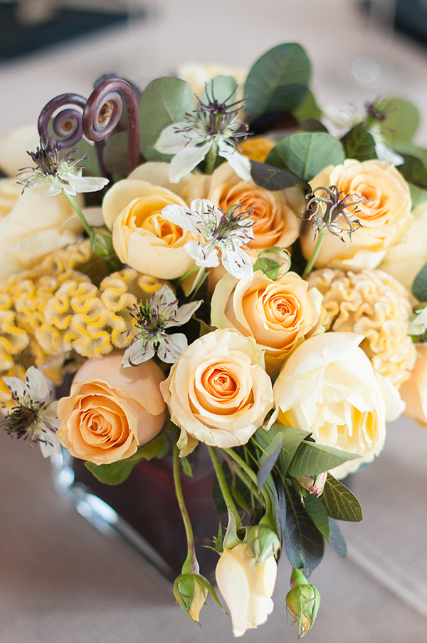 Modern Yellow Centerpiece | Gina Peterson Photography | Modern Industrial Event Inspiration from ISES Napa-Sonoma
