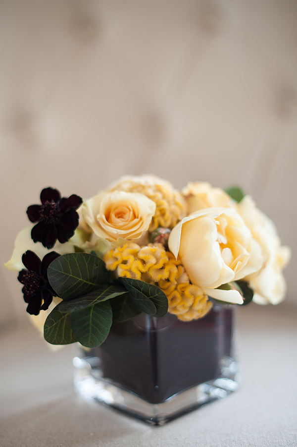 Modern Black and Yellow Centerpiece | Gina Peterson Photography | Modern Industrial Event Inspiration from ISES Napa-Sonoma