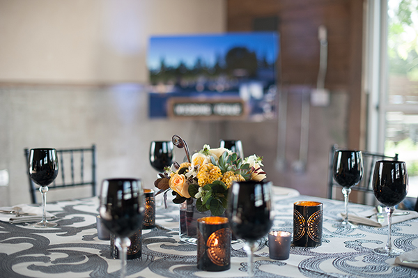 Modern Patterned Table Decor with Anakra Metal Table Linens | Gina Peterson Photography | Modern Industrial Event Inspiration from ISES Napa-Sonoma