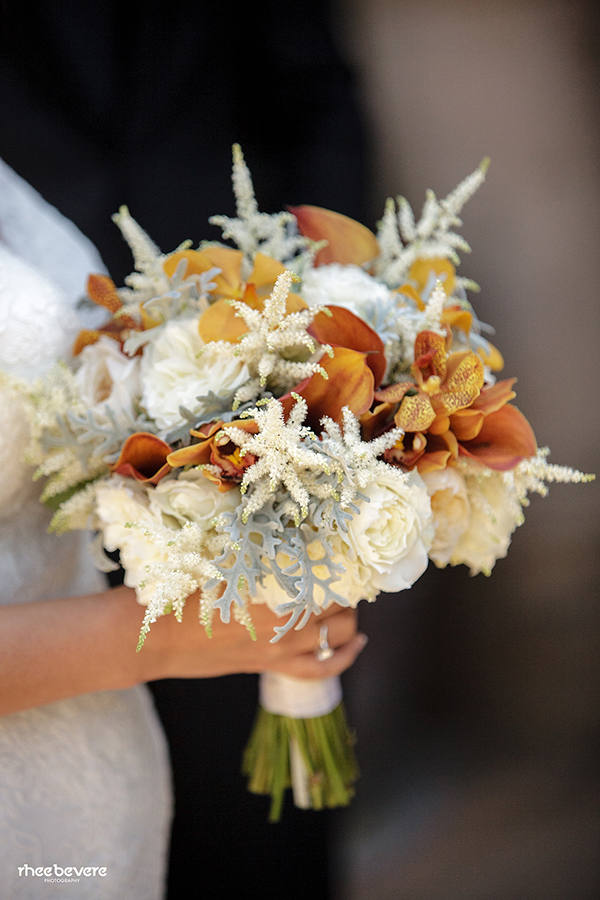 Orange and Ivory Bridal Bouquet with Calla Lilies, Orchids, and Astilbe | Rhee Bevere Photography and Caitlin Arnold Weddings | Rustic Elegance for a Vineyard Wedding at The Vintage Estate