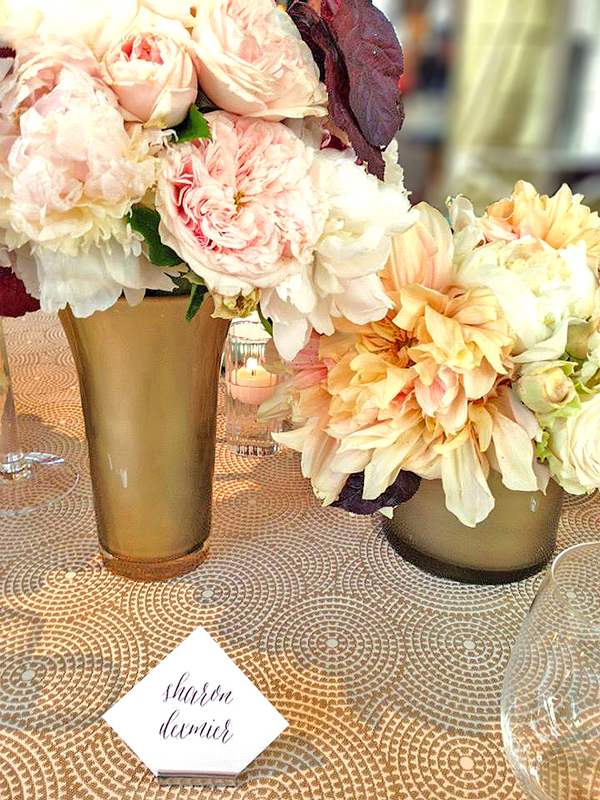Patterned Metallic Table Linen with Blush and Ivory Flowers | Hey Wedding Lady | Sparkling Metallic Wedding and Party Ideas