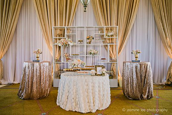 Cream and Blush Wedding Dessert Display with Sequin and Chiffon Linens | Jasmine Lee Photography | Sparkling Metallic Wedding and Party Ideas