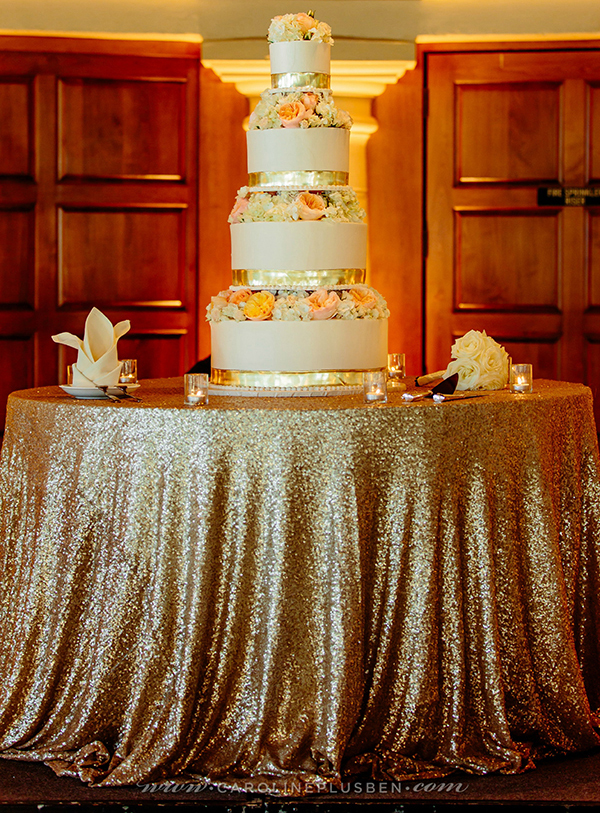 Glamorous Gold and White Wedding Cake Table | Caroline Ben Photography | Sparkling Metallic Wedding and Party Ideas
