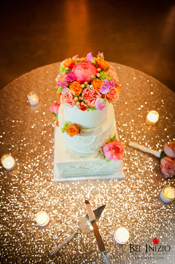 Blush Sequin Wedding Cake Table with Colorful Wedding Cake | Bel Inizio Photography | Sparkling Metallic Wedding and Party Ideas