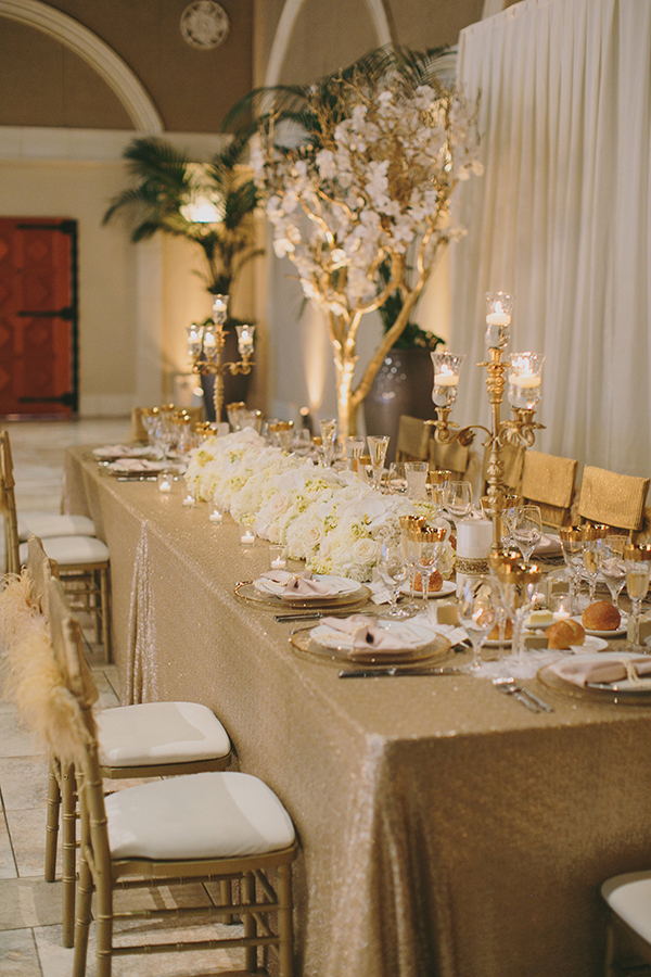 Gold Sequin Head Table with White Flowers | Jake and Necia Photography | Glamorous Gatsby Inspired White and Gold Wedding