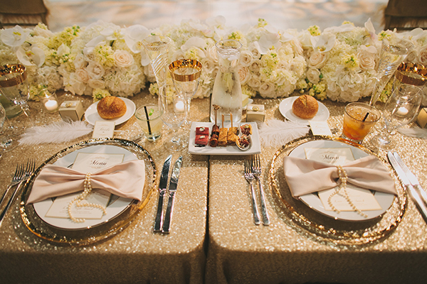 Elegant Gold and White Head Table Decor | Jake and Necia Photography | Glamorous Gatsby Inspired White and Gold Wedding