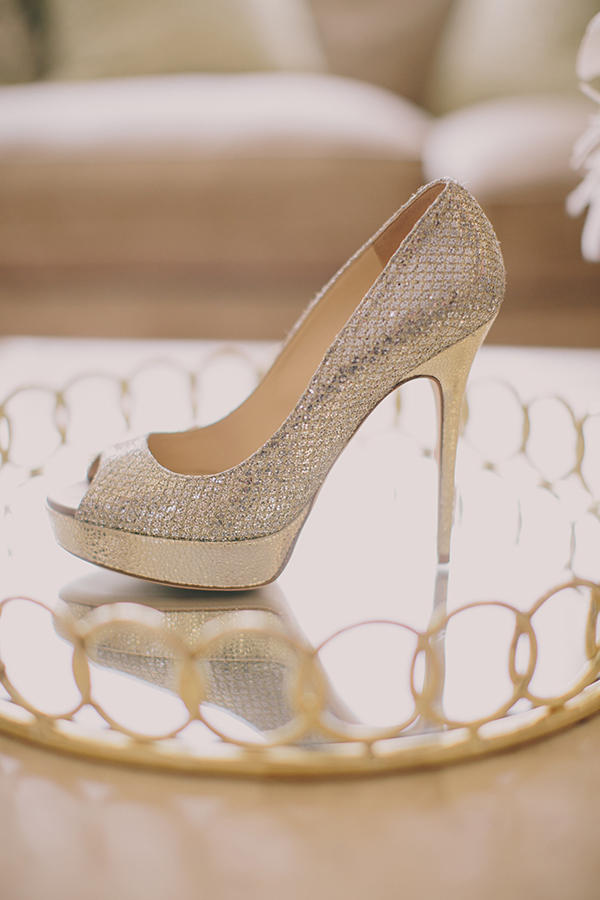 Sparkling Silver Wedding Shoes | Jake and Necia Photography | Glamorous Gatsby Inspired White and Gold Wedding