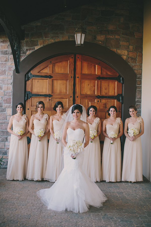 Romantic Neutral Bridesmaids | Jake and Necia Photography | Glamorous Gatsby Inspired White and Gold Wedding