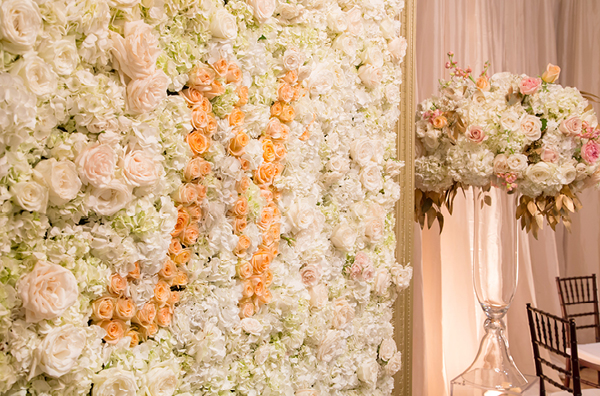 Blush and Ivory Monogram Flower Wall | Champagne Wishes and Botanical Dreams at Casa Amore 2014