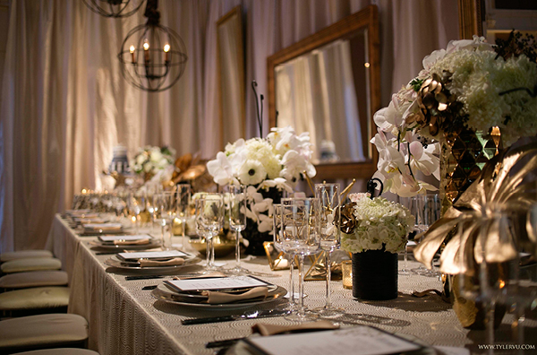Modern Metallic Wedding Table | Champagne Wishes and Botanical Dreams at Casa Amore 2014