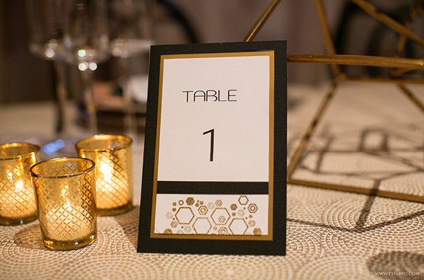 Black and Gold Modern Geometric Wedding Decor | Champagne Wishes and Botanical Dreams at Casa Amore 2014