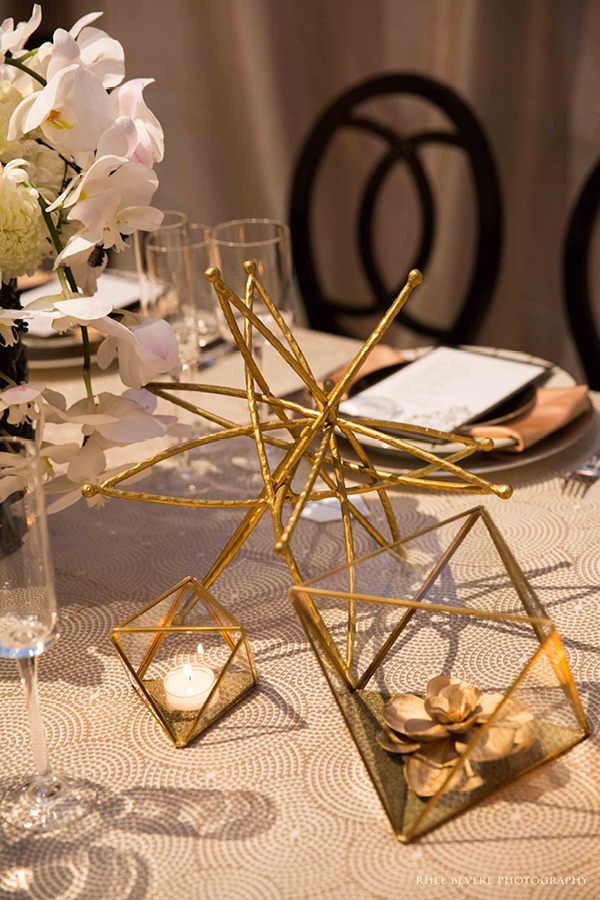 Gold Geometric Table Decor | Champagne Wishes and Botanical Dreams at Casa Amore 2014