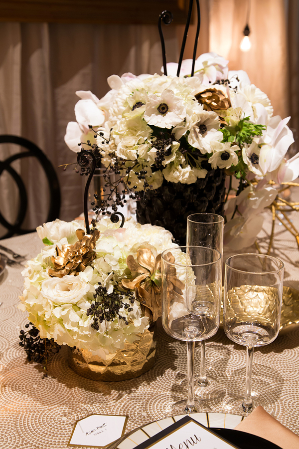 Black, White, and Gold Modern Centerpieces | Champagne Wishes and Botanical Dreams at Casa Amore 2014