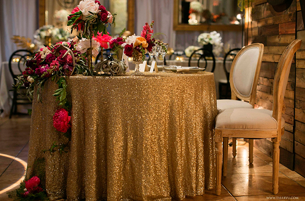 Glamorous Gold Sweetheart Table with Sequins and Botanical Florals | Champagne Wishes and Botanical Dreams at Casa Amore 2014