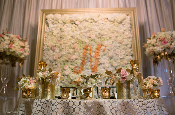 A Monogrammed Floral Wall Makes a Stunning Accent for a Sweetheart Table | Champagne Wishes and Botanical Dreams at Casa Amore 2014