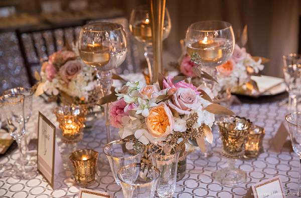 Ivory and Blush Roses on Sparkling Champagne Linens | Champagne Wishes and Botanical Dreams at Casa Amore 2014