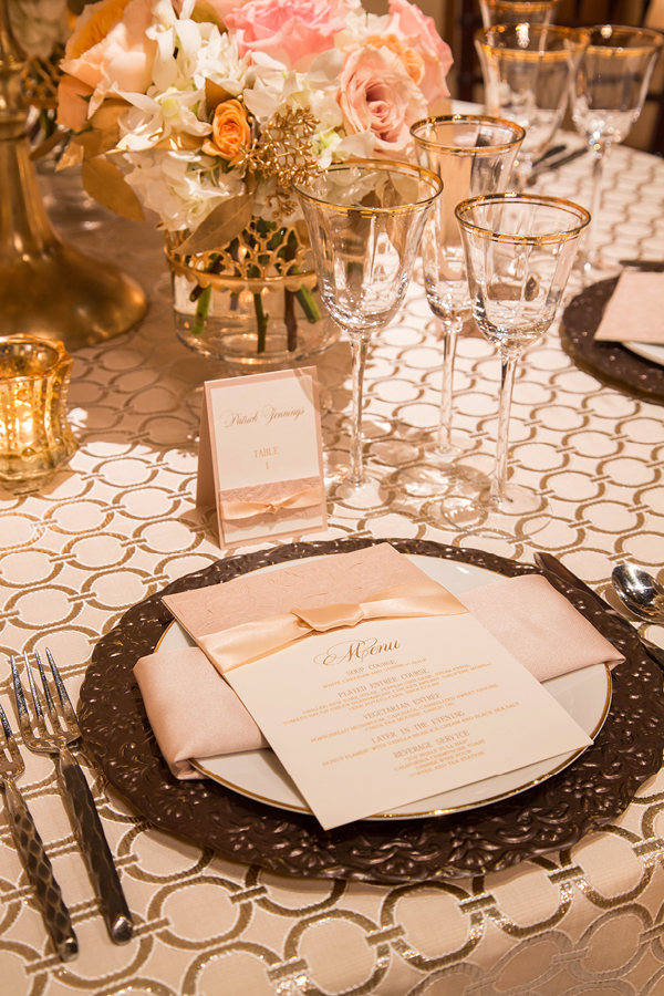 Romantic Chanel Inspired Champagne Wedding Place Setting | Champagne Wishes and Botanical Dreams at Casa Amore 2014